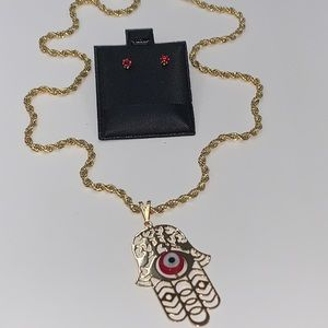 Jewelry - Red Hamsa hand with evil eye jewelry set